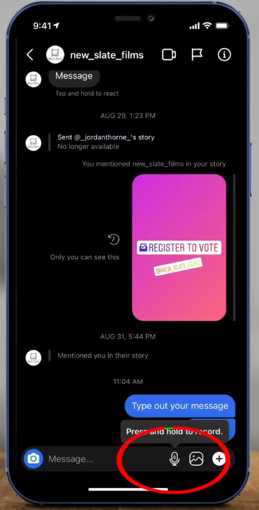 Instagram DM Voice Message Send