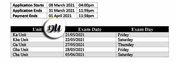 dhaka university du all unit exam dates