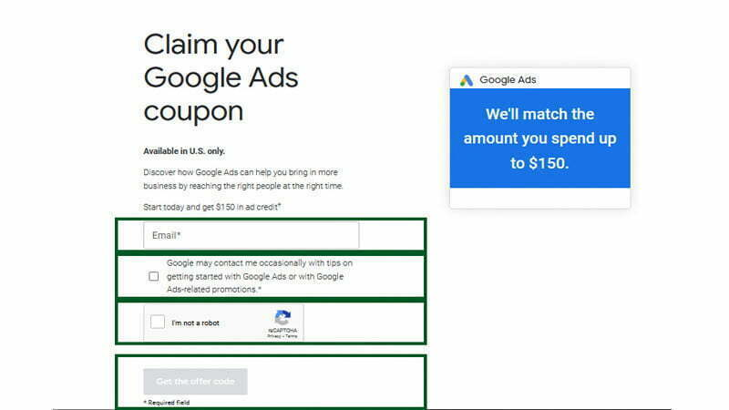 google adwards ads coupon code 2021