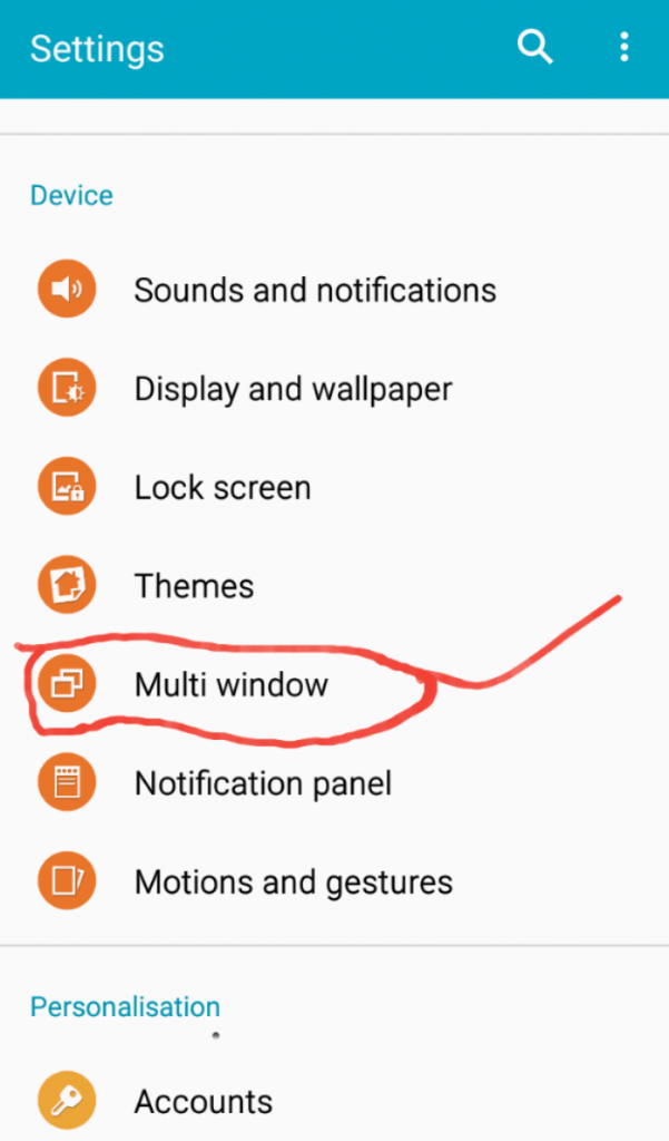android multi window settings