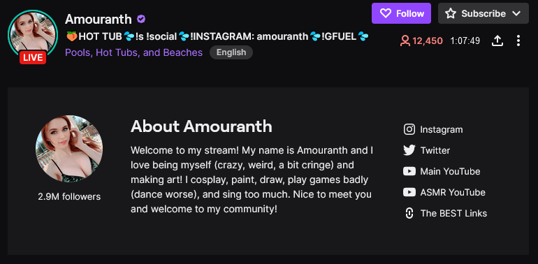 Amouranth twitch tv streamers