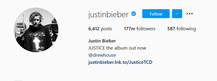 Instagram Influencers Justin Bieber