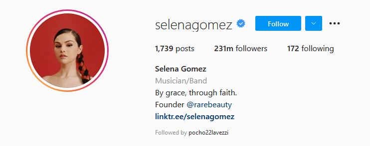 Instagram Influencers Selena Gomez