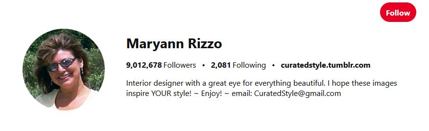 Maryann Rizzo Pinterest Influencers