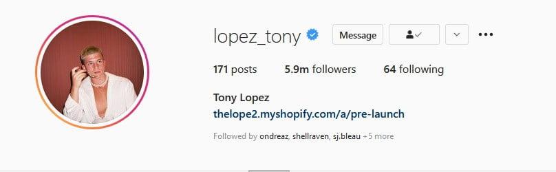 instagram influncer Tony Lopez