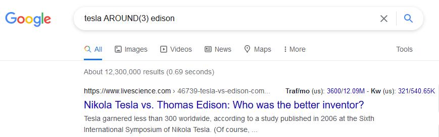 AROUND(X) google search operators