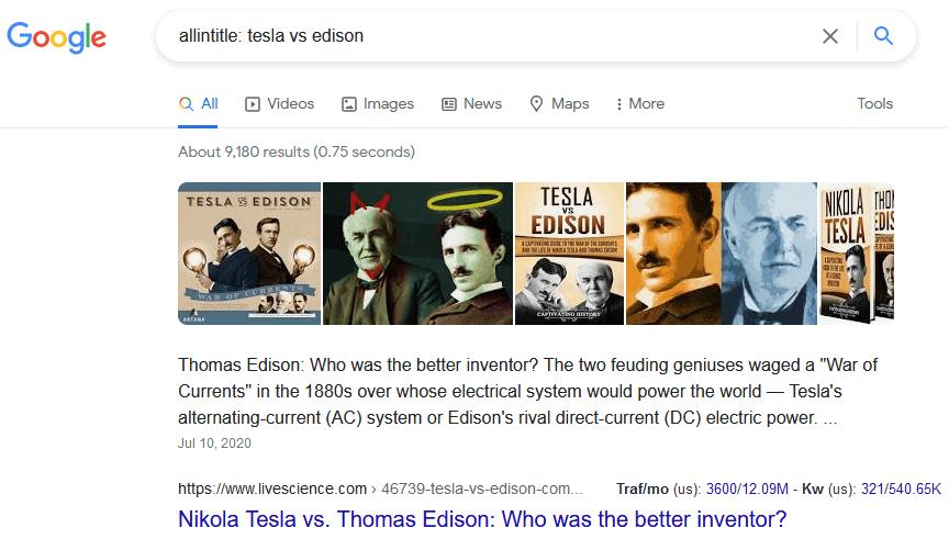allintitle google search operators