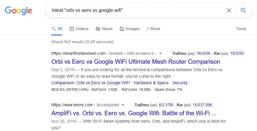 intext google search operators