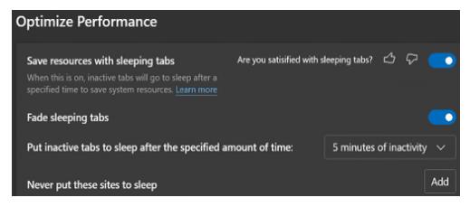 microsoft edge sleeping tabs